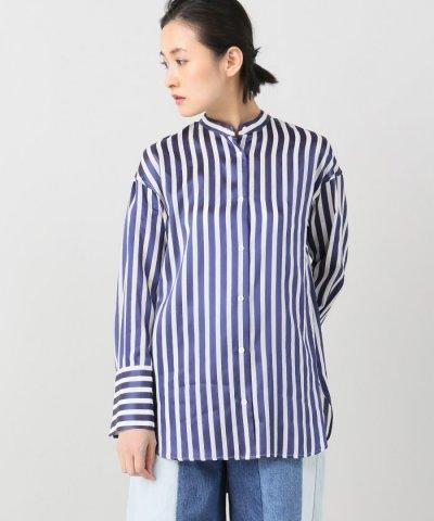 サテンストライプロングカフシャツ