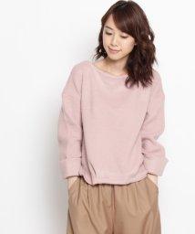 pink adobe/リブ袖折り返ニットソープルオーバー/500110900