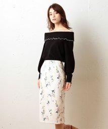 MIIA/ボタニカルフラワーロングタイトスカート/500115039