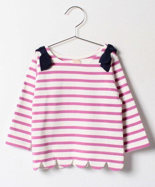 petit main(プティマイン)/肩リボンつき裾スカラップボーダー柄Tシャツ/9671215