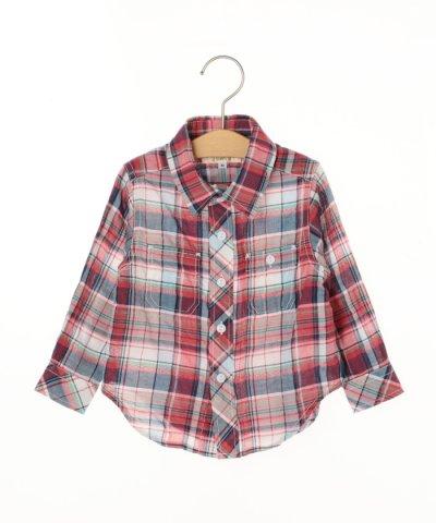 SHIPSKIDS:シャーリングチェックシャツ(80~90cm)