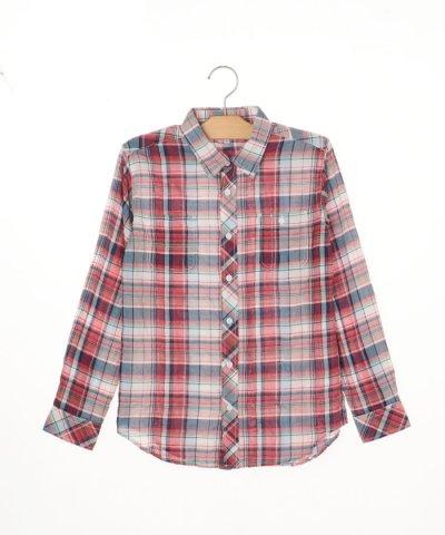SHIPSKIDS:シャーリングチェックシャツ(145~160cm)