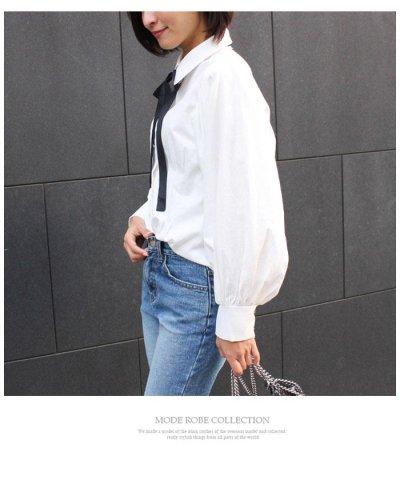 バルーンスリーブリボンシャツ