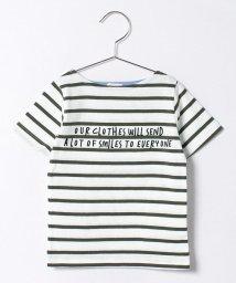 b-ROOM/ロゴ入りボーダーTシャツ/500135540