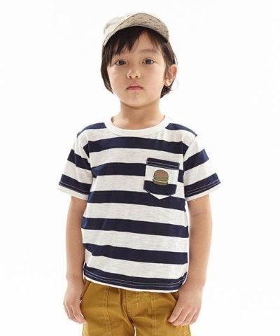 ハンバーガーポケット太ボーダー柄Tシャツ