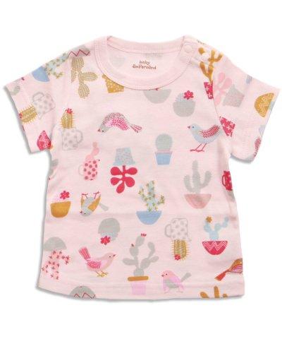 鳥とサボテン柄Tシャツ