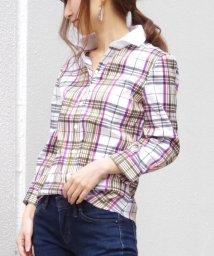 NARA CAMICIE/レース襟七分袖チェックシャツ/500185567