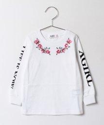 X-girl Stages/バラ刺しゅう入り袖ロゴTシャツ/500160722