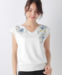 JUSGLITTY/刺繍フレンチ袖Vニット/500207601