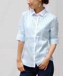 NARA CAMICIE/コントラストストライプ別布使い半袖シャツ/500205402