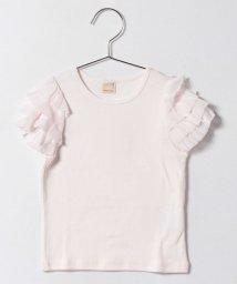 petit main/袖チュールフリルTシャツ/500205545