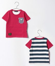 kladskap/後ろボーダー切替半袖Tシャツ/500205522