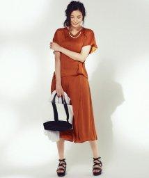 JIYU-KU /【洗える】クレールサテン ワイドパンツ/500223621