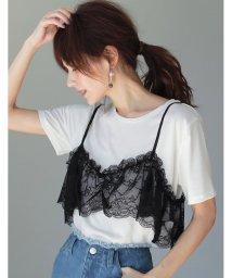 Re:EDIT/レースフリルキャミ付きTシャツ/500217491