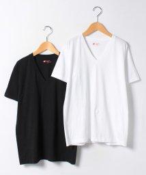 JNSJNM/JAPAN FIT Vネック WHITE&BLACK/500211243