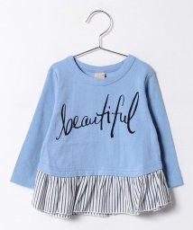 petit main/ロゴ×ペプラム8分袖Tシャツ/500247548
