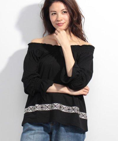 裾刺繍VネックスモックT/S