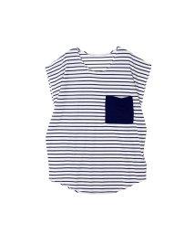 SILKY/ボーダーBIGポケットTシャツ/500263044