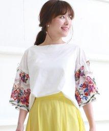 Bou Jeloud/花柄刺繍 ボリュームスリーブTシャツ/500275788