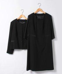 BLACK GALLERY/【大きめサイズ】ノーカラージャケットと前開きワンピのゆったりアンサンブル/500258982