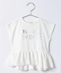 petit main/ネコフェイスプリントぺプラムTシャツ/500277006