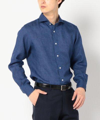 SD:【ALBINI社製生地】ウォッシュドリネンシャツ(ブルー)