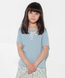 petit main/レースアップテレコTシャツ/500297746