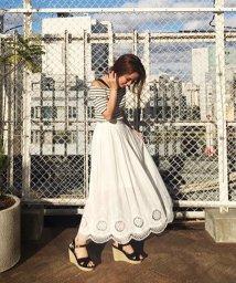 31 Sons de mode/ローン刺繍コットンロングスカート/500302781