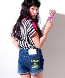ANAP GiRL/カラーロゴ刺繍デニムショートパンツ/500302145
