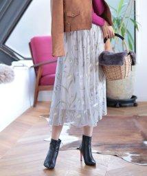 Mystrada/【美人百花 9月号掲載】チュール刺繍スカート/500314186