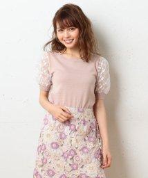 MIIA/袖オーガンジー刺繍切替ニット/500301386