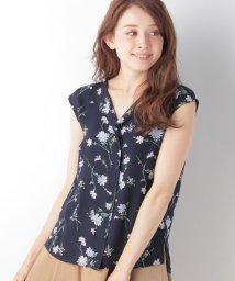 JUSGLITTY/抜け衿半袖花柄ブラウス/500296570