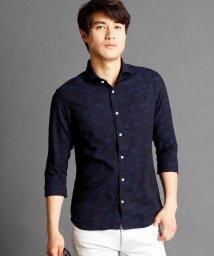 NICOLE CLUB FOR MEN/カモフラージュ柄7分袖シャツ/500310386