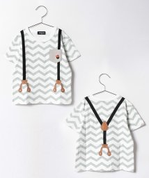 kladskap/トロンプルイユサスペンダーデザインジグザグプリントTシャツ/500338846