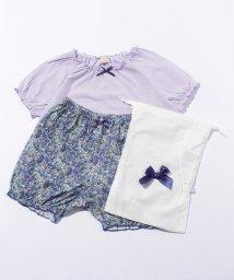 petit main/巾着つき無地×小花柄カットソーパジャマセット/500338968
