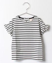 petit main/袖フリルボーダーTシャツ/500338937