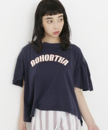 DOUBLE NAME/パウダー加工リメイク風フレアカレッジTシャツ/500355040