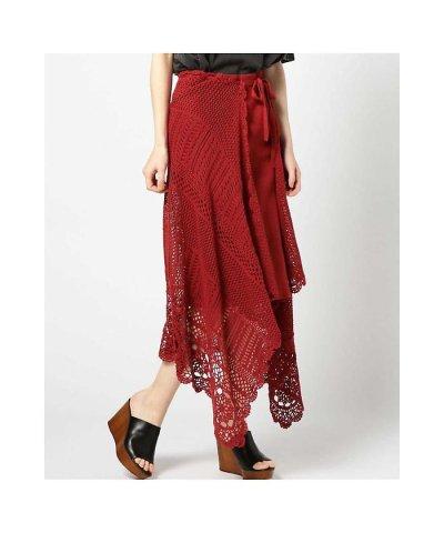 【ROSE BUD(ローズバッド)】イレギュラーヘムかぎ編みロングスカート