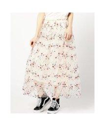 ROSE BUD/フラワー刺繍チュールスカート/500359557