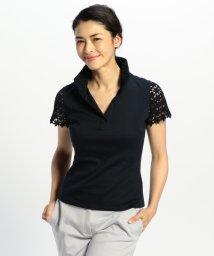 NARA CAMICIE/レースコンビスタンドカラー半袖カットソーシャツ/500366394