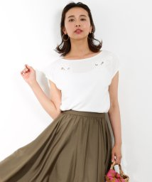 ROPE' mademoiselle/デコルテ刺繍フレンチTシャツ/500367704