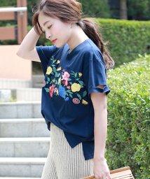 Bou Jeloud/フロント花柄刺繍Tシャツ/500362905