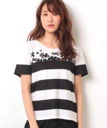 Leilian/【特別提供品】クローバープリント×ボーダーTシャツ/500373777