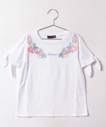 Lovetoxic/お花刺しゅう入りスリット袖Tシャツ/500378341