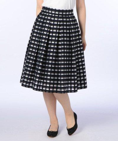 【NOLLEY'S(ノーリーズ)】【上原多香子さんドラマ着用】チェックカットジャガードタックスカート