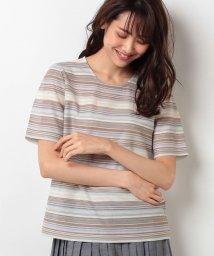 Leilian/【特別提供品】ランダムボーダーTシャツ/500385942