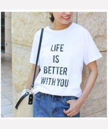 MODE ROBE/英字プリント半袖Tシャツ/500391432
