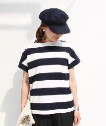 coen/【大人気・復刻・新色追加】ワイドボーダーボートネックTシャツ/500396504