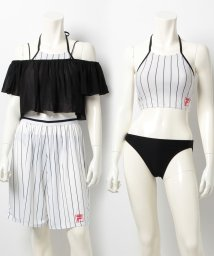 VacaSta Swimwear/【FILA】シフォントップス・パンツ付きストライプ柄ビブトップ4点セット/500386628