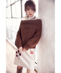 MIIA/パーツファー刺繍台形スカート/500410196